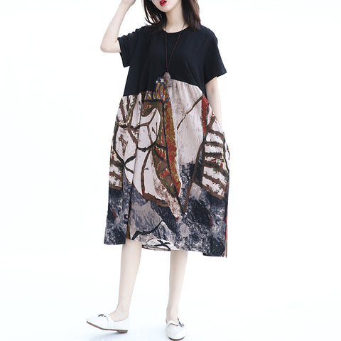 Short Sleeve Print Cotton Linen Dress