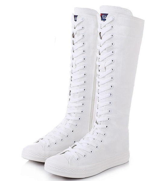 Canvas High Top Lace-Up Zipper Boots