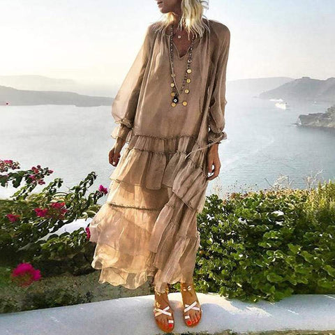 Sheer V Neck Loose Layered Dress