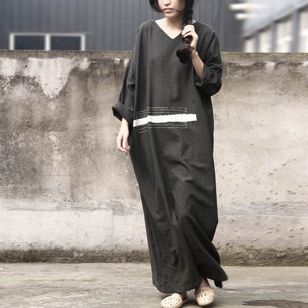 V-Neck Full Sleeve Cotton Linen Embroidered Maxi Dress