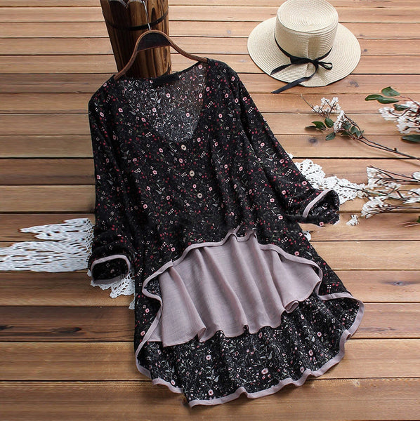 Floral Print Long Sleeve Tail Shirt
