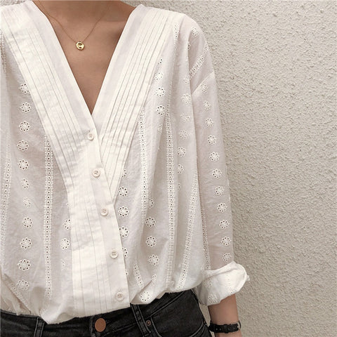 V-Neck Embroidered Eyelet Shirt