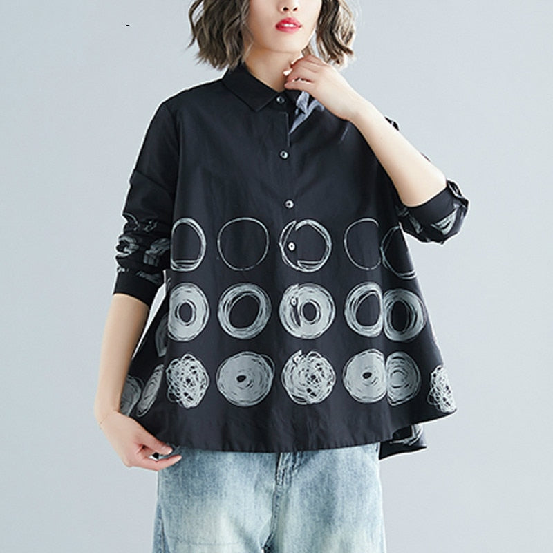 Long Sleeve Print Dot Shirt