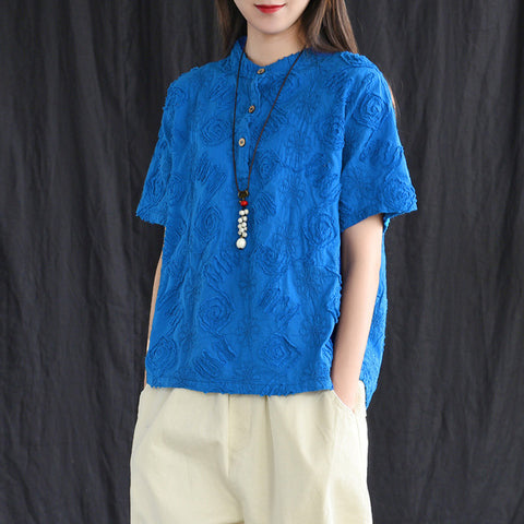 Short Sleeve Cotton Linen Embroidered Shirt