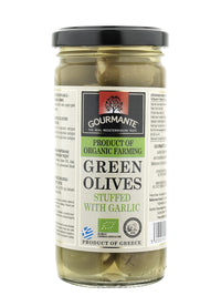 Gourmante BIO Green Olives Stuffed with Garlic in Brine 240gr