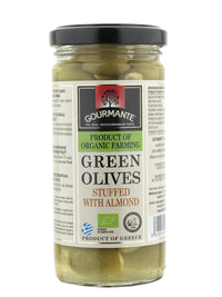Gourmante BIO Green Olives Stuffed with Almond in Brine 240gr