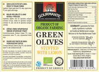 Gourmante BIO Green Olives Stuffed with Lemon in Brine 240gr
