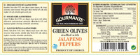 Gourmante Green Olives stuffed with Jalapeno Peppers in Brine 244ml