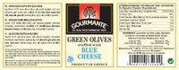 Gourmante Green Olives stuffed with Blue Cheese in Sunflower Oil 244ml