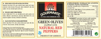 Gourmante Green Olives Stuffed with Natural Red Peppers in Brine 227gr