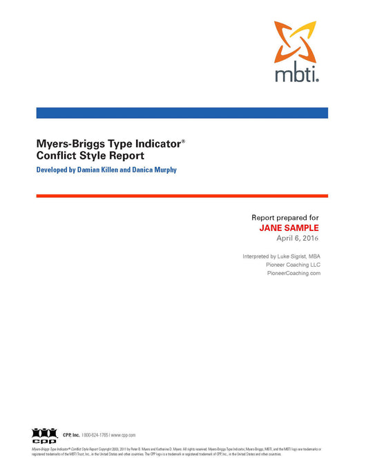 Cover page 1 of 11 MBTI® Conflict Style Report, Mesa, AZ, pioneer coaching