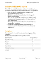page 3 displays a sample of the survey respondents for a 360 degree feedback