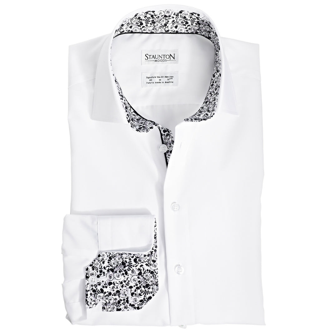 Men's Black & White Wonderland Pattern Slim Fit Non-Iron White Cotton Shirt