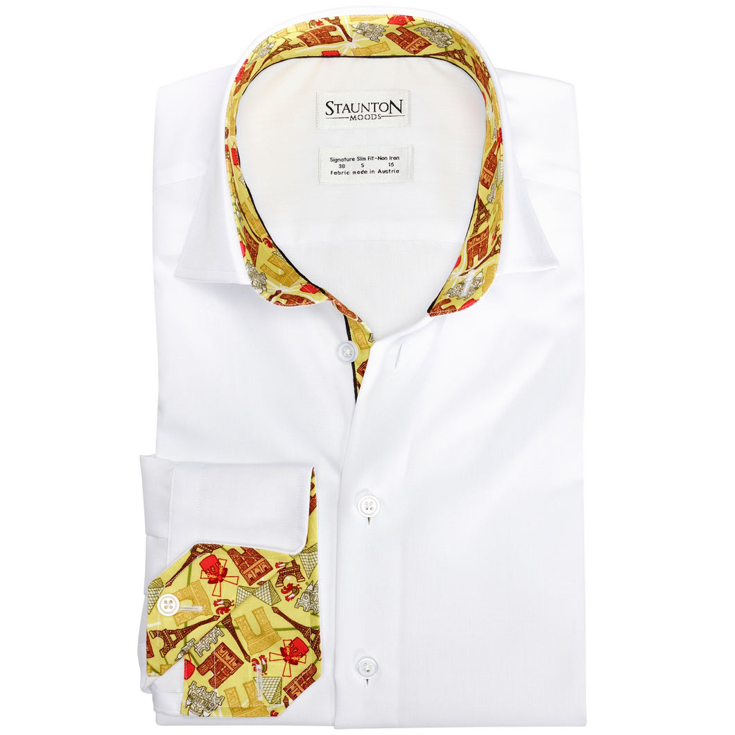 Men's Caramel Paris Pattern Slim Fit Non-Iron White Cotton Shirt
