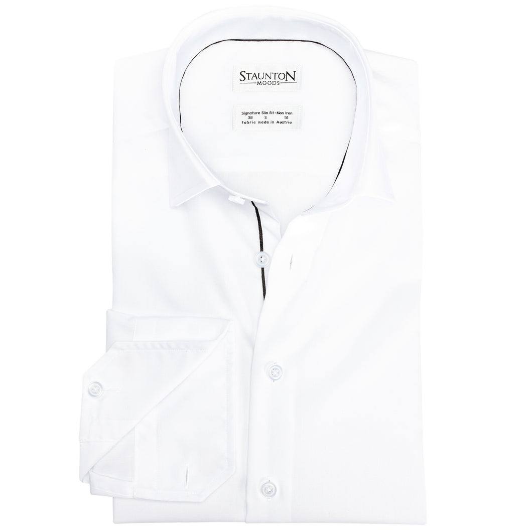 Men's Classic Snow Black Piping Slim Fit Non-Iron White Cotton Shirt