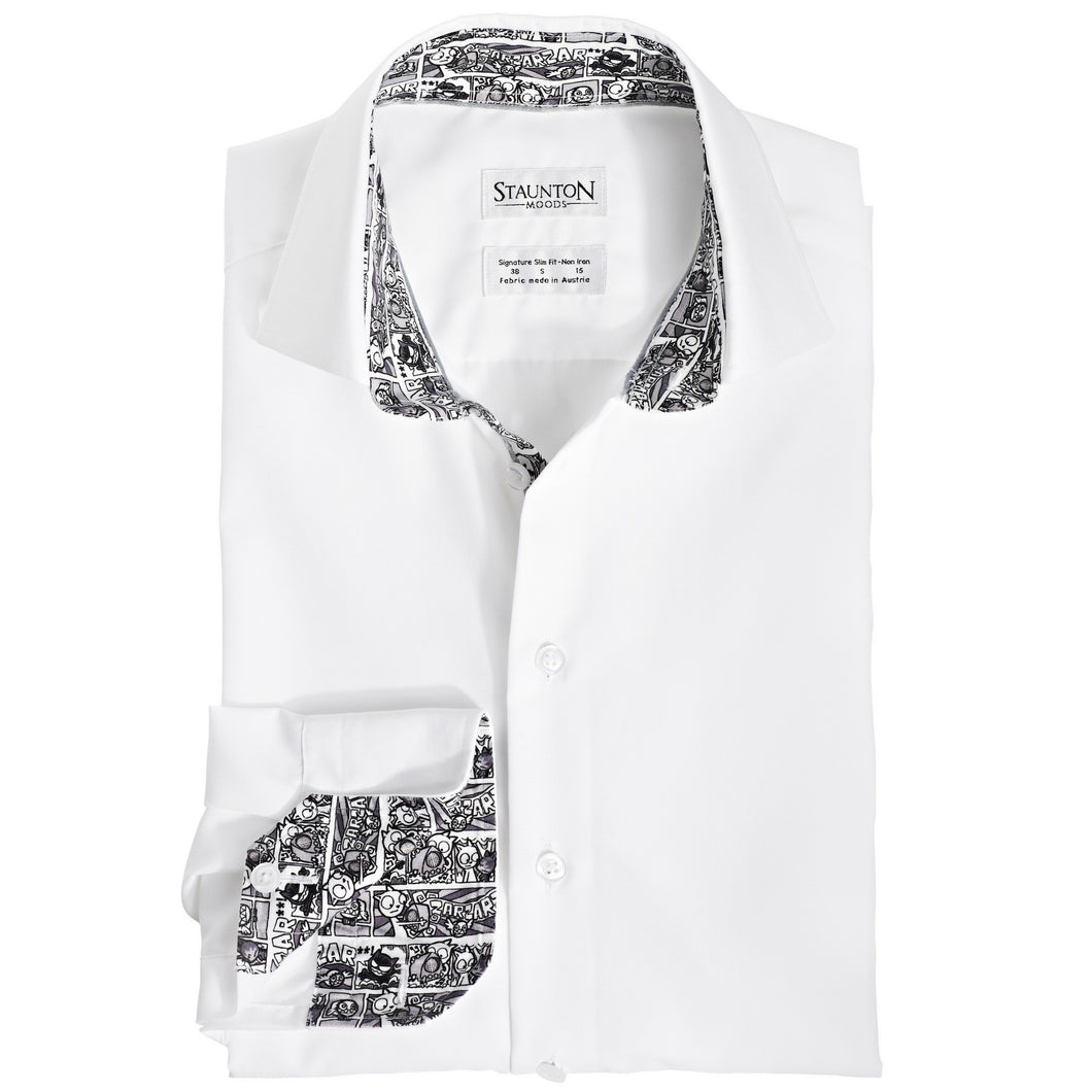Men's Comic Pattern Slim Fit Non-Iron White Cotton Shirt