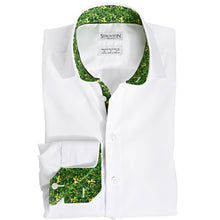 Men's Green Ghoulies Pattern Slim Fit Non-Iron White Cotton Shirt