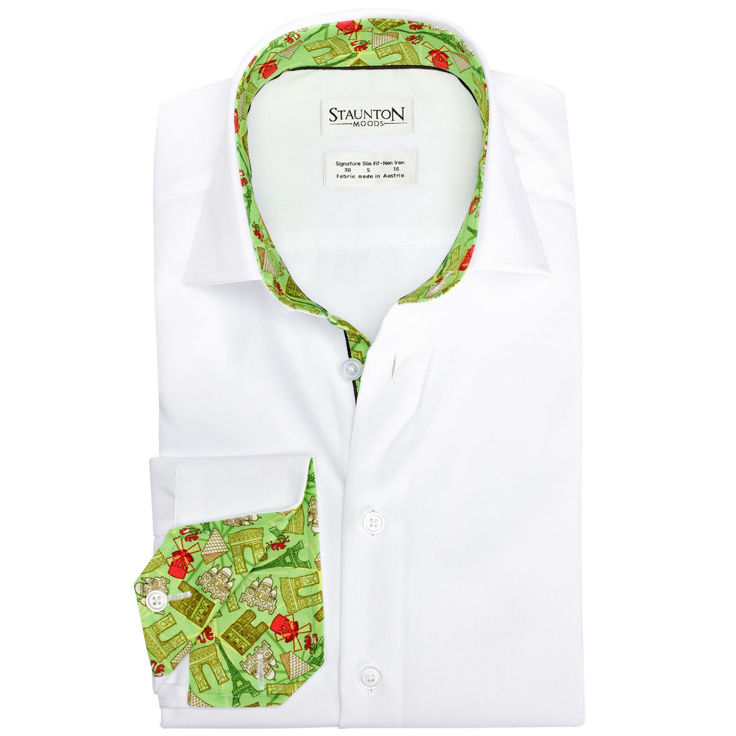 Men's Green Paris Pattern Slim Fit Non-Iron White Cotton Shirt