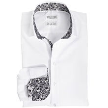 Men's Grey Ghoulies Pattern Slim Fit Non-Iron White Cotton Shirt