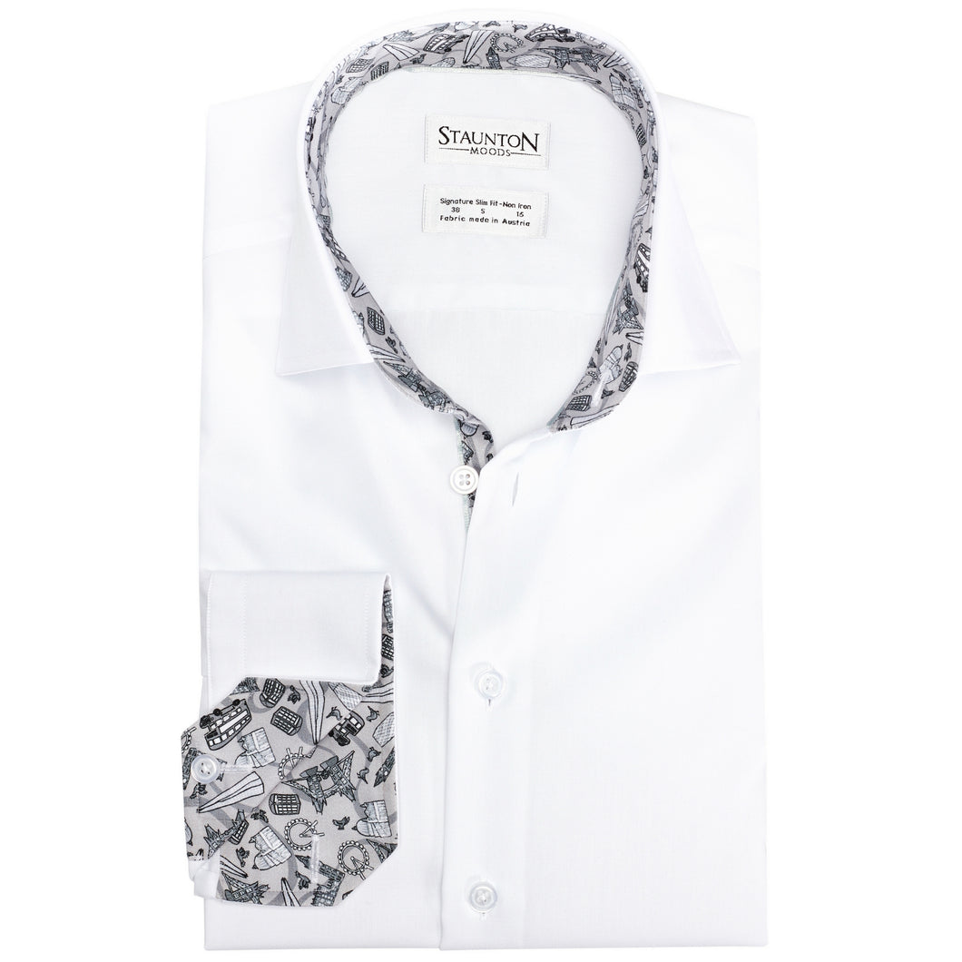 Men's Grey London Pattern Slim Fit Non-Iron White Cotton Shirt