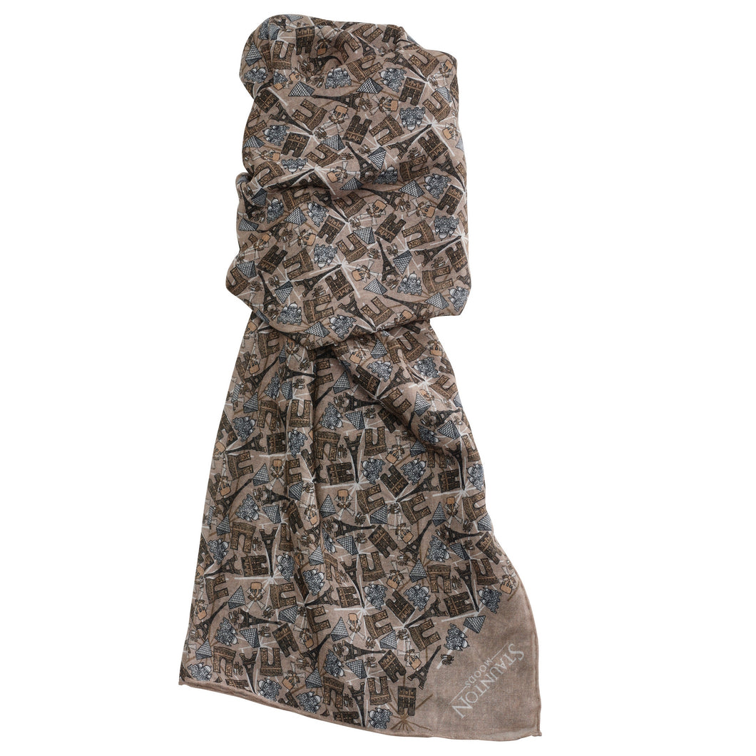 Men's Grey Paris Long Cotton Scarf