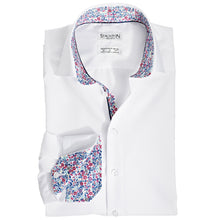 Men's Jungle by Day Pattern Slim Fit Non-Iron White Cotton Shirt