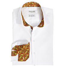 Men's Red Ghoulies Pattern Slim Fit Non-Iron White Cotton Shirt