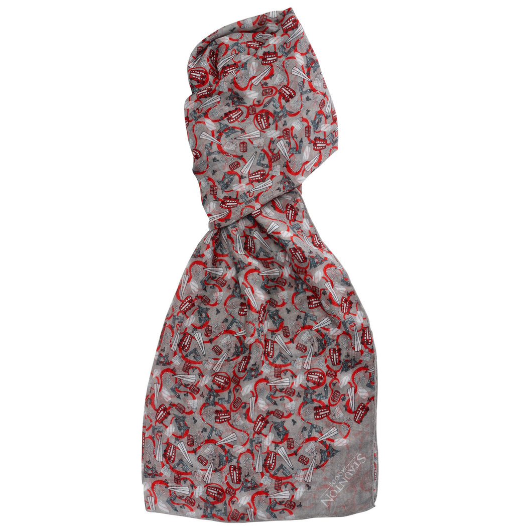 Men's Red London Long Cotton Scarf