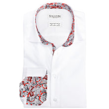 Men's Red London Pattern Slim Fit Non-Iron White Cotton Shirt