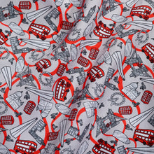 Red London Mood Fabric for Men's Slim Fit Non-Iron White Cotton Shirt