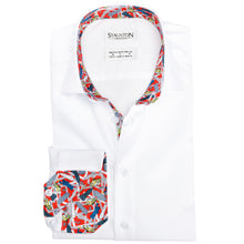 Men's Red New York Pattern Slim Fit Non-Iron White Cotton Shirt