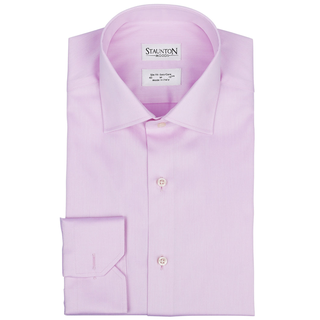 Men's Timeless Rosa Slim Fit Easy-Care Light Pink Cotton Shirt