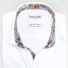Men's Blue London Pattern Slim Fit Non-Iron White Cotton Shirt