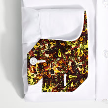 Men's Brown Manga Pattern Slim Fit Non-Iron White Cotton Shirt