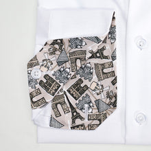 Men's Grey Paris Pattern Slim Fit Non-Iron White Cotton Shirt