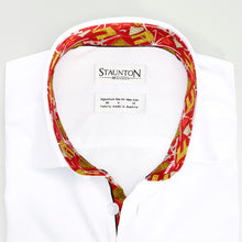 Men's Maroon Paris Pattern Slim Fit Non-Iron White Cotton Shirt