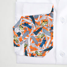 Men's Orange New York Pattern Slim Fit Non-Iron White Cotton Shirt