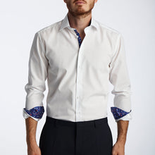 Men's Purple Wonderland Pattern Slim Fit Non-Iron White Cotton Shirt