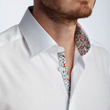 Men's White Wonderland Pattern Slim Fit Non-Iron White Cotton Shirt