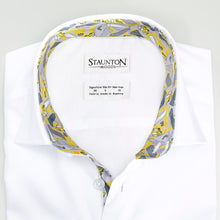 Men's Yellow New York Pattern Slim Fit Non-Iron White Cotton Shirt