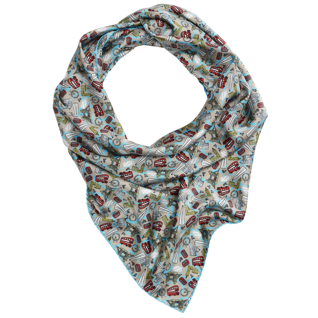 Women's Blue London Square Silk Scarf