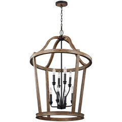 Feiss F3040 8wow Lorenz 8 Light Chandelier In Weathered Oak Wood