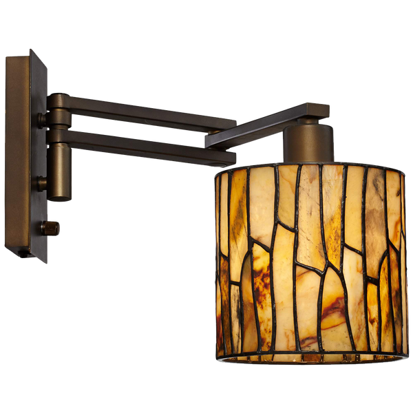 Robert Louis Tiffany Speckled Plug In Swing Arm Wall Lamp