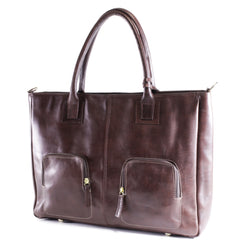 Big Aura Ladies leather laptop bag / handbag brown