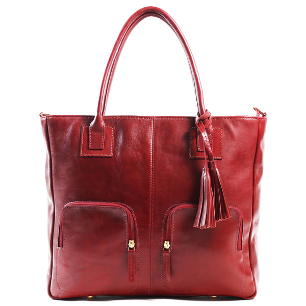Aura Ladies leather laptop bag / handbag red