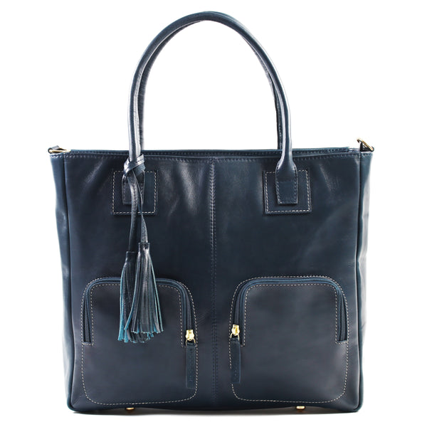 Aura Ladies leather laptop bag / handbag blue
