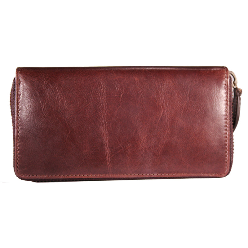 AW-111 Zip Around Ladies Purse brown