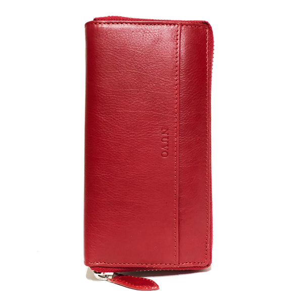 AW-111 Zip Around Ladies Purse Merino red
