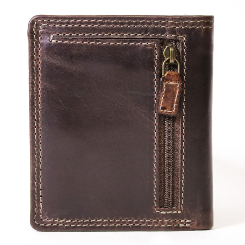 147 Mens bi fold wallet with inner flap in Manhattan brown leather