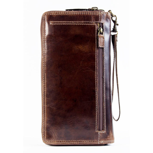 160 Double-zip travel wallet brown